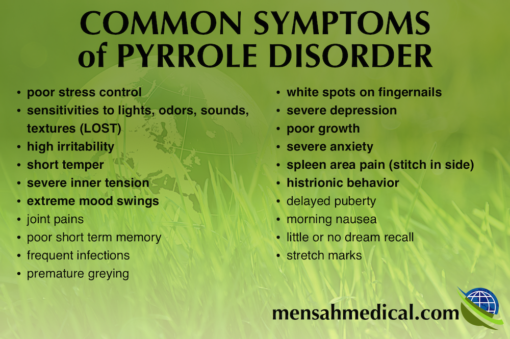 common symptoms of pyrrole disorder which causes mood instability