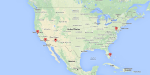 Map of our current integrative care outreach clinics